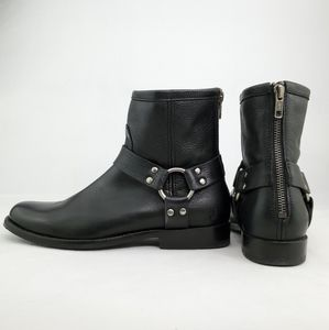 FRYE Phillip Harness Back-zip Ankle Leather Moto Boots